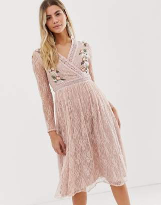 Frock and Frill prairie lace midi dress with embroidered wrap front in soft rose