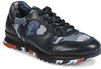 Karl Lagerfeld Mens Camouflage Leather Low-Top Sneakers