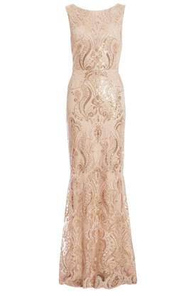 Quiz Champagne Sequin Embellished Maxi Dress