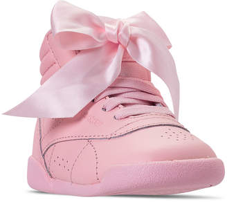 Reebok Toddler Girls  Freestyle High Top Satin Bow Casual Sneakers from  Finish Line 6b4d8911b