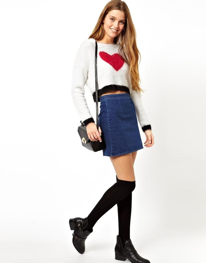 Asos A-Line Denim Skirt in Blue