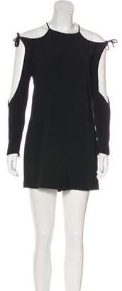 Tom Ford Velvet-Trimmed Cold-Shoulder Dress