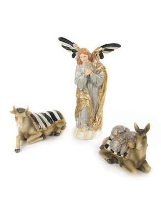 Mackenzie Childs MacKenzie-Childs Silver Lining Angel & Animal Nativity Figurines, Set of Three