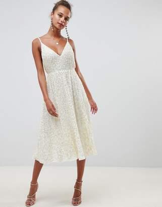 Asos DESIGN delicate sequin midi plunge dress with full skirt
