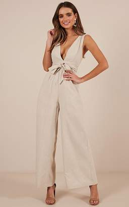 a0d2a13cffc Showpo Love Is Easy jumpsuit in beige linen look Playsuits   Jumpsuits