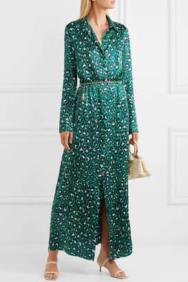Olivia von Halle Hero Leopard-print Silk-satin Maxi Dress - Emerald