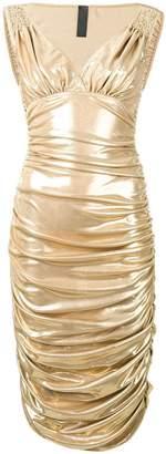Norma Kamali metallic ruched dress