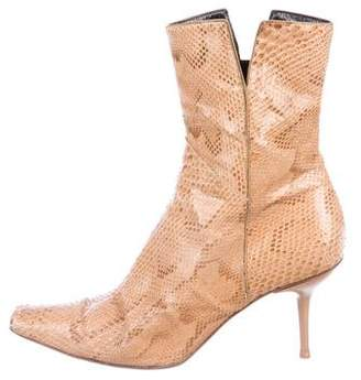 Sergio Rossi Snakeskin Square-Toe Ankle Boots