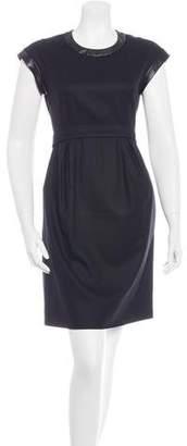 Celine Leather-Trimmed Sheath Dress
