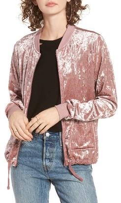 Women's Socialite Velvet Drawstring Hem Bomber Jacket $55 thestylecure.com