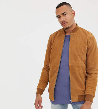 Asos DESIGN Tall suede bomber jacket in tan