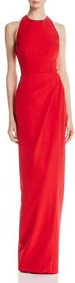 JS Collections Back-Cutout Ruched Gown
