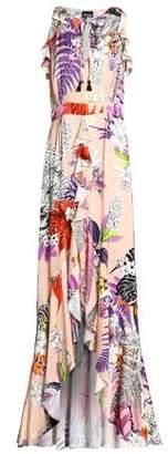 Just Cavalli Ruffled Printed Satin Maxi Dress