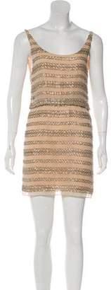 Alice + Olivia Silk Bead Embellished Mini Dress