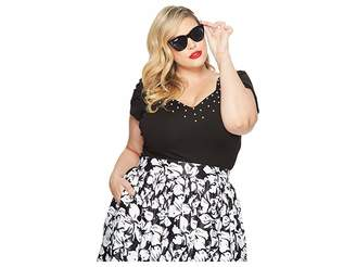 Unique Vintage Plus Size Nora Short Sleeve Top w/ Pearls Women's Clothing