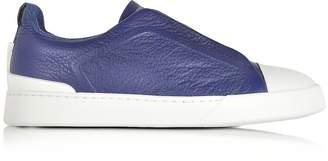 Ermenegildo Zegna Electric Blue Grained Triple Stitch Sneakers