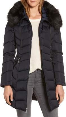 Tahari Gwen Chevron Down & Feather Faux Fur Coat