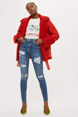 Topshop Womens Tall Super Rip Jamie Jeans - Mid Stone