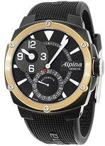 Alpina ブラックダイヤルブラックシリコンストラップメンズ腕時計al950lbg4fbae9