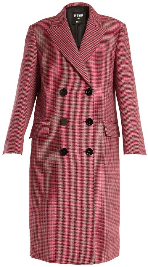 MSGM Double-breasted hound's-tooth wool coat
