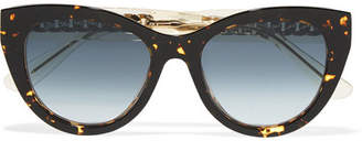 Jimmy Choo Nile Cat-eye Chain-embellished Acetate Sunglasses - Tortoiseshell