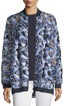 Elie Tahari Gilana Floral-Net Long-Sleeve Jacket