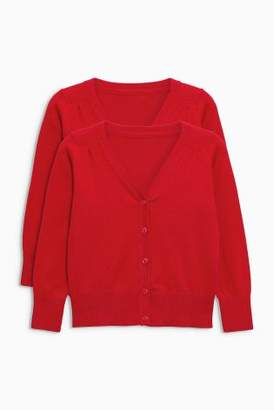 Next Girls Red V-Neck Cardigan Two Pack (3-16yrs)