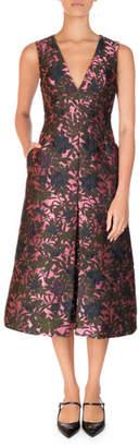 Erdem Havana Floral Jacquard Sleeveless A-Line Midi Dress, Pink/Green