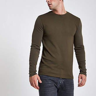 River Island Khaki green slim fit long sleeve top