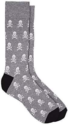 Corgi Men's Skull-Pattern Cotton-Blend Mid-Calf Socks - Gray