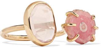 Melissa Joy Manning 14-karat Gold, Quartz And Rhodochrosite Ring