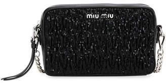 a29a41485d4 Miu Miu Matelassé and Sequin Camera Crossbody Bag