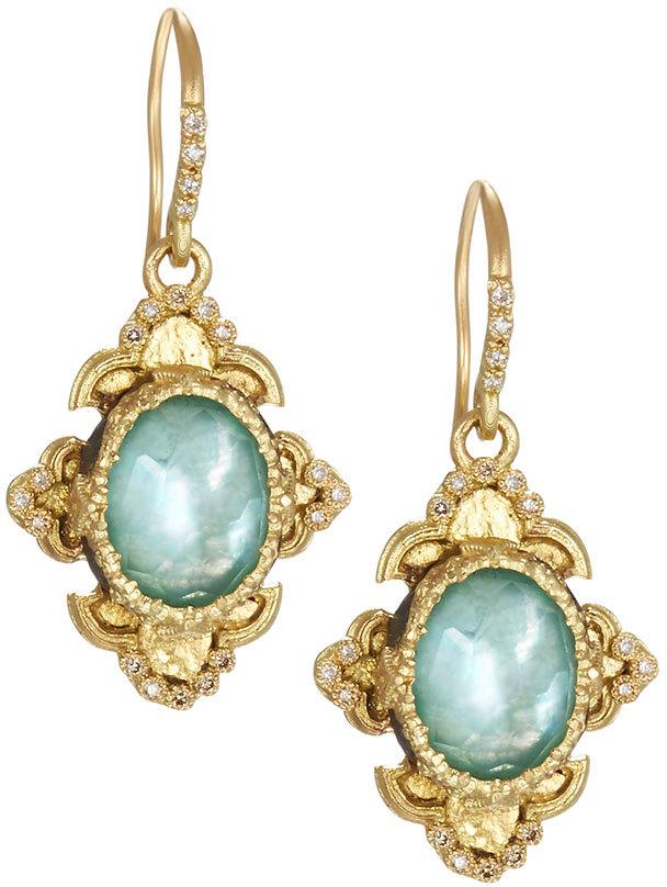 ArmentaArmenta Old World 18k Scroll Triplet Drop Earrings w/ Mixed Diamonds