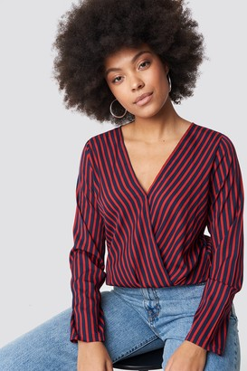 Rut & Circle Rut&Circle Alex Stripe Wrap Blouse Blue/Red
