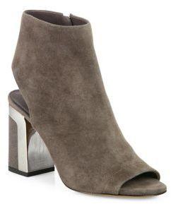 Vince Fenmore Suede Peep-Toe Block-Heel Booties $395 thestylecure.com