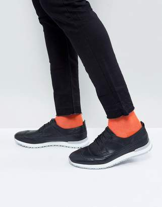 Asos Design Brogue Shoes In Black Leather With Hybrid Sole