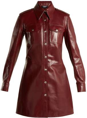 Calvin Klein Leather button-through shirtdress