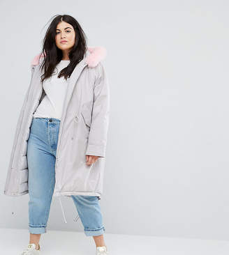 Asos Oversized Parka with Pink Faux Fur Hood