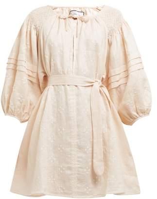 Innika Choo Dot Embroidered Puff Sleeve Linen Mini Dress - Womens - Light Pink