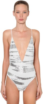 Missoni Sequined V Neck One Piece Swimsuit