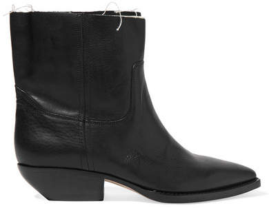Saint Laurent - Theo Frayed Textured-leather Ankle Boots - Black