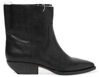 Saint Laurent Theo Frayed Textured-leather Ankle Boots - Black