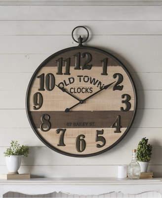 "Vip Home & Garden 35"" Metal and Wood Clock"