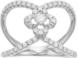 Forever Brilliant 14k White Gold 1/2 Carat T.W. Lab-Created Moissanite Split Shank Clover Ring