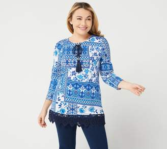Susan Graver Weekend Printed Cotton Modal Tunic with Lace Hem
