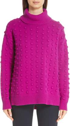 Lela Rose Dotted Wool & Cashmere Turtleneck Sweater