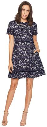 Vince Camuto Bonded Lace Fit and Flare with Pleats Women's Dress