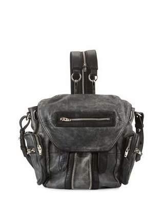Alexander Wang Mini Marti Crackled Lambskin Backpack, Black/White $850 thestylecure.com