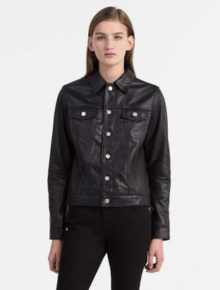Calvin Klein leather trucker jacket
