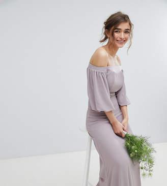 Bardot TFNC Petite Maxi Bridesmaid Dress with Sleeve Drama and Embellished Waist